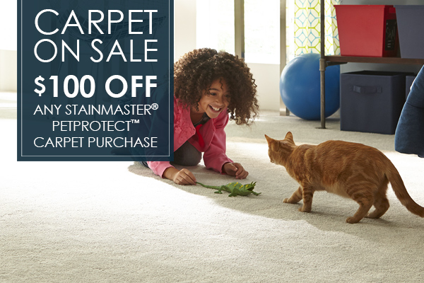 Carpet on sale! $100 off any Stainmaster® PetProtect™ Carpet Purchase this month at West Carpets Floors To Go in Rahway.