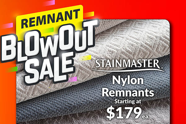 Carpet Remnant Blowout Sale! Huge Selection of Remnants Available in Many Colors & Styles!