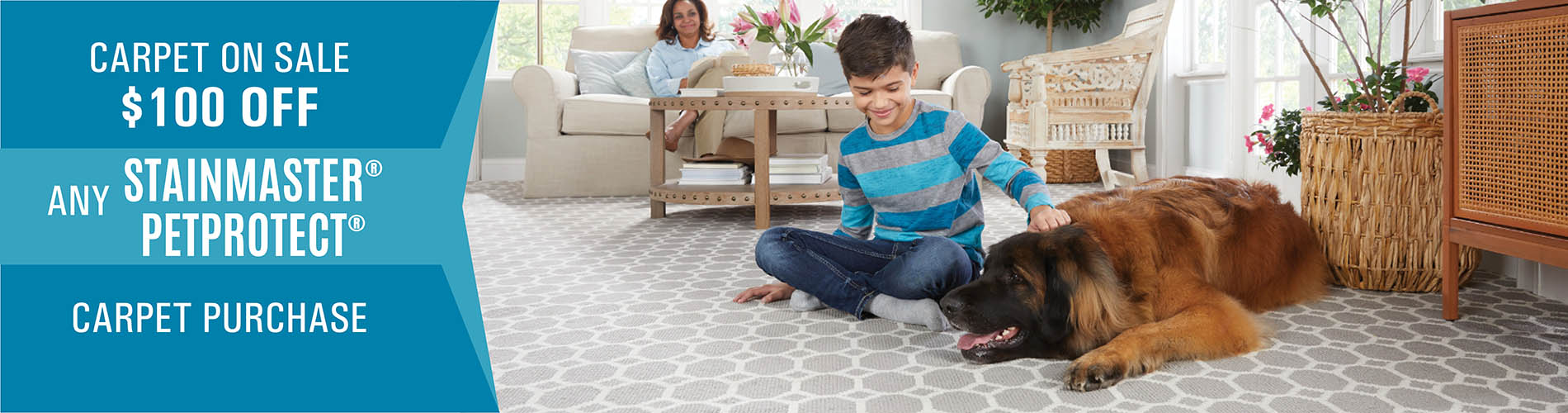 Carpet on Sale  $100 OFF Any Stainmaster® PetProtect™  Carpet Purchase