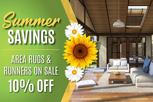 Save 10% on area rugs & runners during our summer sale at West Carpets in Rahway
