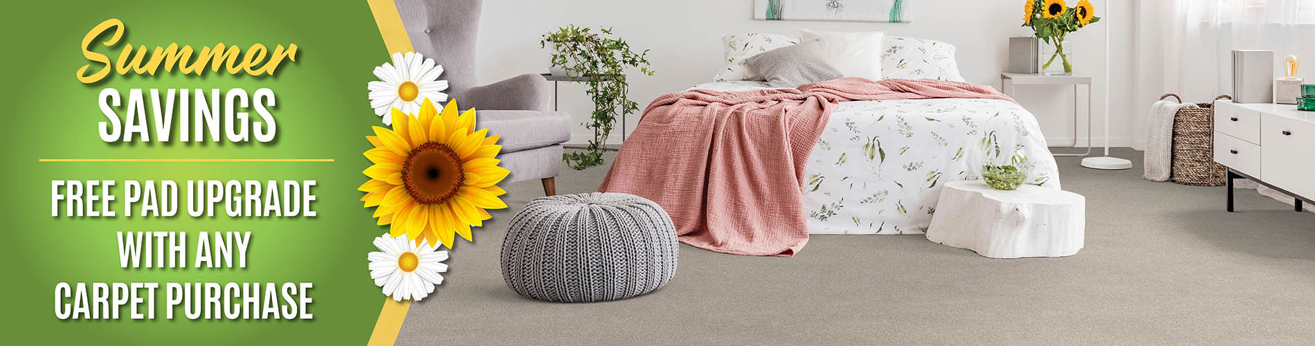 Free Carpet pad upgrade during our summer sale at West Carpets in Rahway