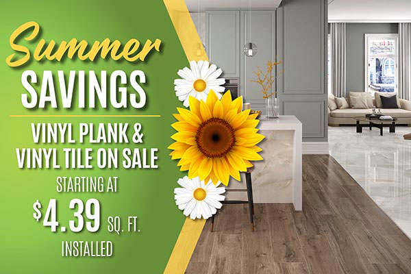 Luxury Vinyl Plank and Tile flooring starting at $4.39 sq.ft. during our summer sale at West Carpets in Rahway